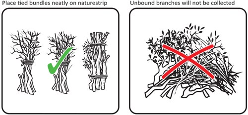 Place tied bundles neatly on naturestrip.  Unbound branches will not be collected.