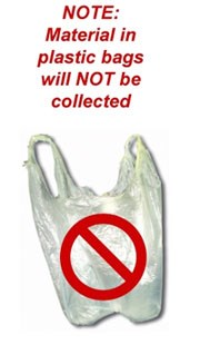 Note: material in plastic bags will not be collected.