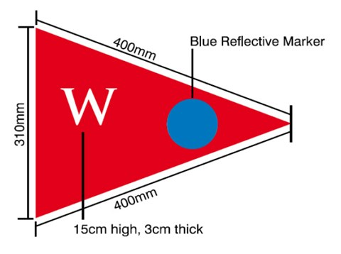 Water supply sign is a triangular red flag that is 310mm high and 400mm long on each side. It has a large 'W' in the left corner, which is 15cm high and 3cm thick, and a blue circle reflective marker in the right corner.