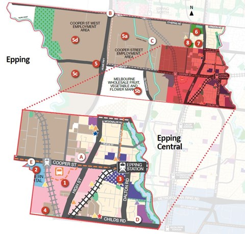 Map showing key locations in Epping, as explained in preceding webpage