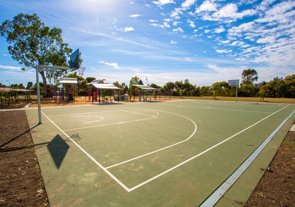 Tennis and basketball courts for public use