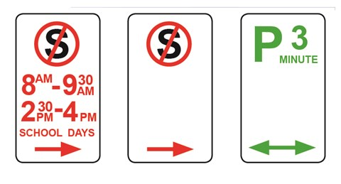 Image shows different parking restrictions including no standing and 3 minute