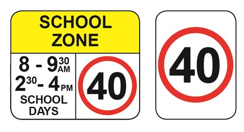 school zone 40 speed sign