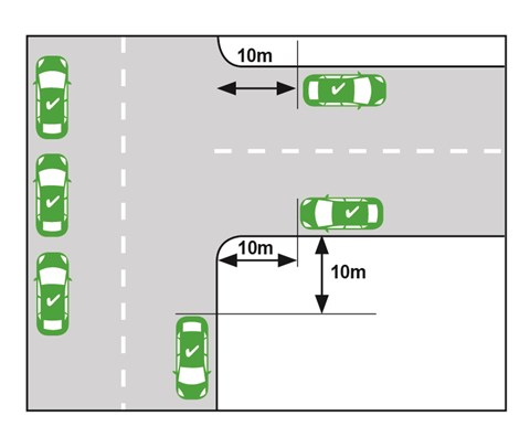 illustration depicting cars parked 10 metres away from an intersection