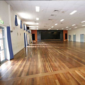 Epping Memorial Halls' Main Hall fits a maximum of 300 people seated. The Main Hall has polished floor boards and a stage.