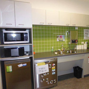 The kitchenette is available for use by the users of the facility.